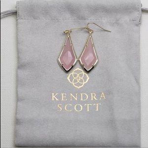 Kendra Scott Olivia Gold Drop Earrings Rose Quartz